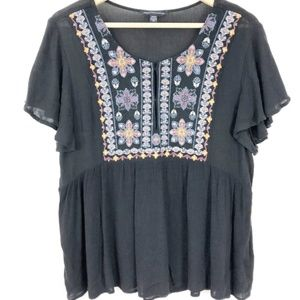 American Eagle Embroidered Boho Peplum Top Medium